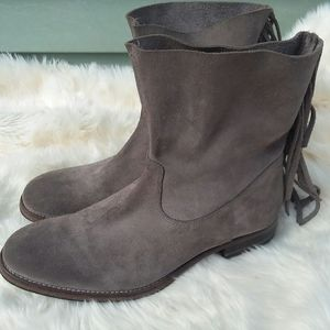 HTC Gray suede Fringe boots size 10